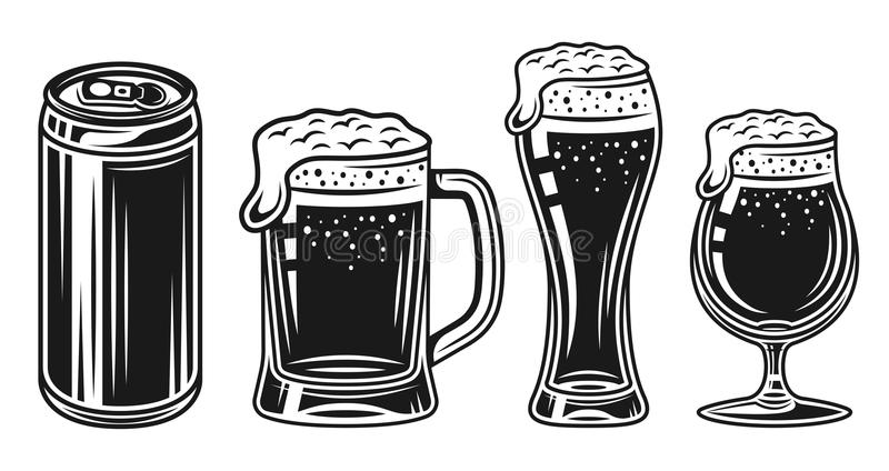 Beer glass, mug and can vector black objects set royalty free illustration