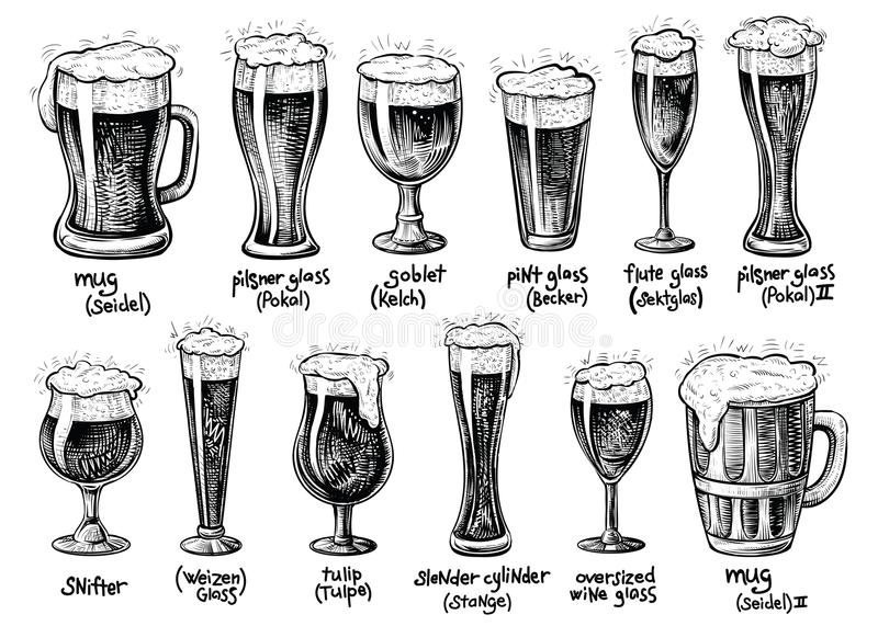 Beer glass and mugs types. Vector hand drawn vintage illustrations. royalty free illustration