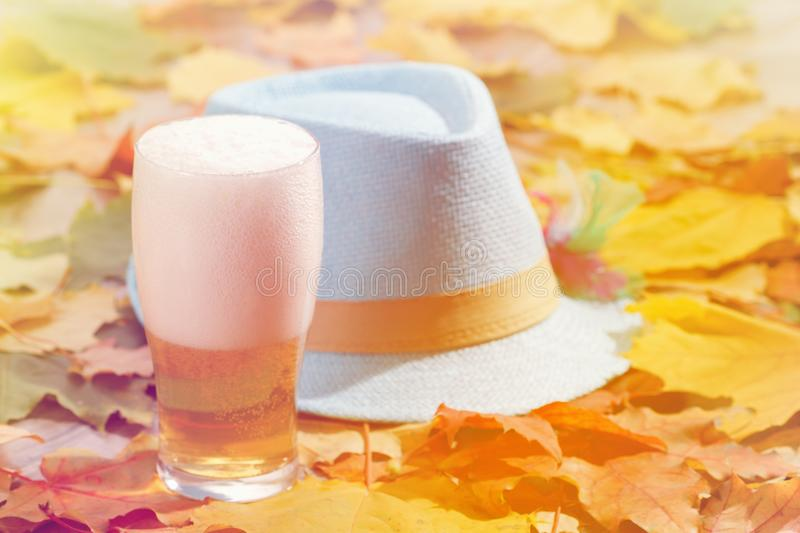 Beer glass pint octoberfest picnic on natural background with hat and autumn leaves. Beer glass pint octoberfest picnic on natural background with hat and autumn stock image
