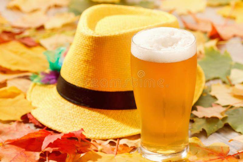 Beer glass pint octoberfest picnic on natural background with hat and autumn leaves. Beer glass pint octoberfest picnic on natural background with hat and autumn stock photography