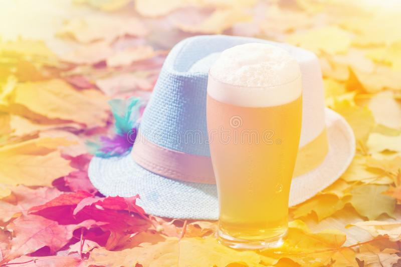 Beer glass pint octoberfest picnic on natural background with hat and autumn leaves. Beer glass pint octoberfest picnic on natural background with hat and autumn stock images
