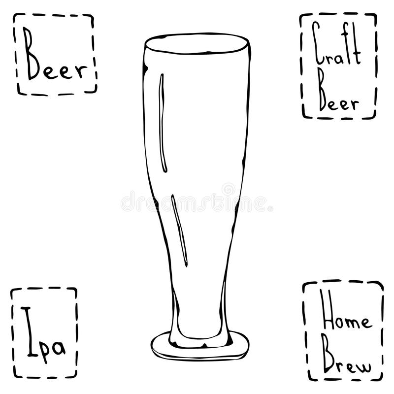 Beer Glass Weizen Type. Hand Drawn Vector Illustraition. royalty free illustration