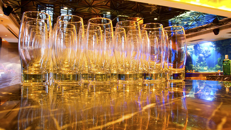 Beer glasses. At a luxury nightclub stock photos
