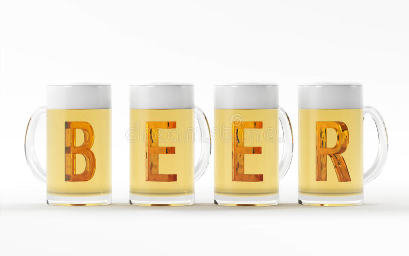 Beer glasses with amber crystal font 3D rendering royalty free illustration