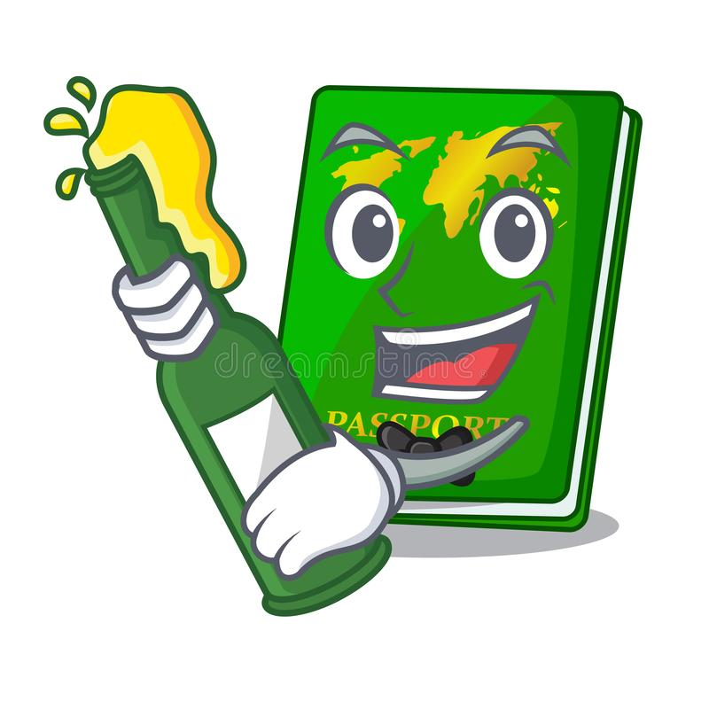 With beer green passport on the mascot table royalty free illustration