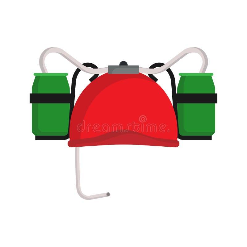 Beer hat red holiday celebration illustration beverage vector icon. Festive event party pub bar green cap royalty free illustration
