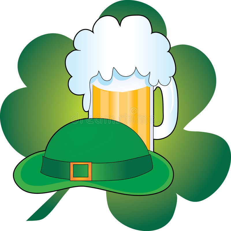 Beer,Hat,Shamrock. Green Hat with a stein of beer and a shamrock stock illustration