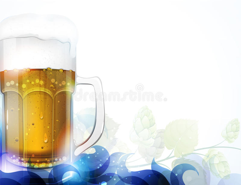 Beer and hop. Glass of beer and branch of hop with abstract blue decorative elements. Oktoberfest background vector illustration