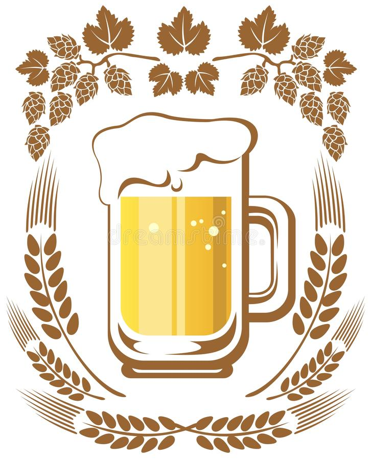 Beer and hop. Beer mug and hop on a white background stock illustration