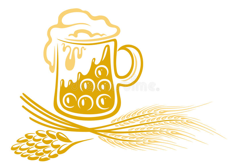 Beer, hops, barley. Oktoberfest beer, with hops and barley royalty free illustration