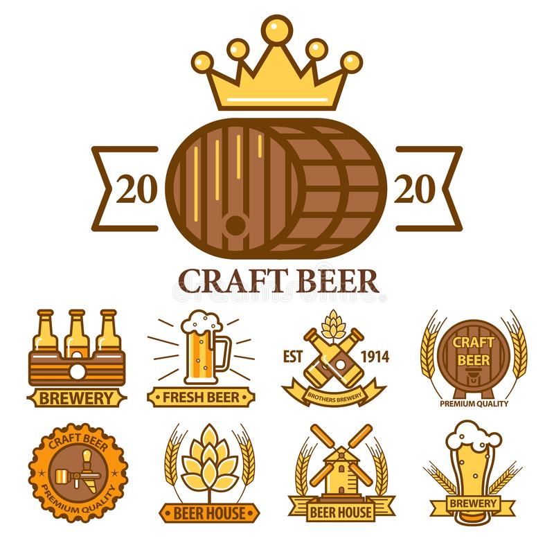 Beer house and craft brewery logo set of nine templates 库存例证