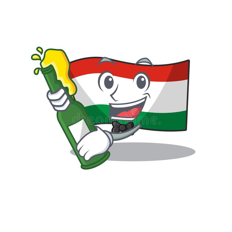 With beer hungary flag folded in character drawer. Vector illustration royalty free illustration