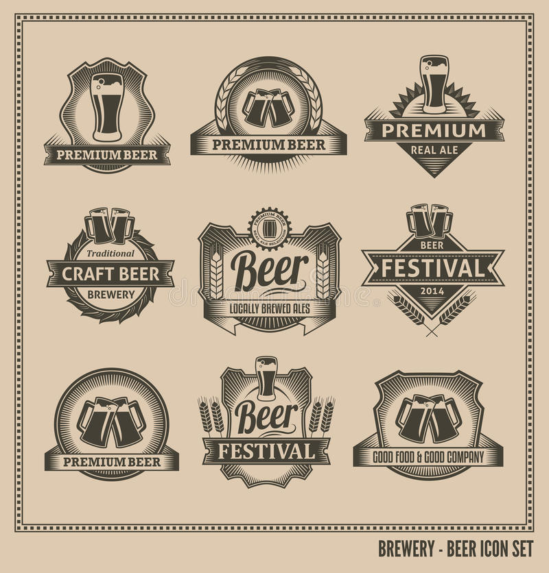 Beer icon chalkboard set. Labels, posters, signs, banners, vector design symbols. Removable background texture