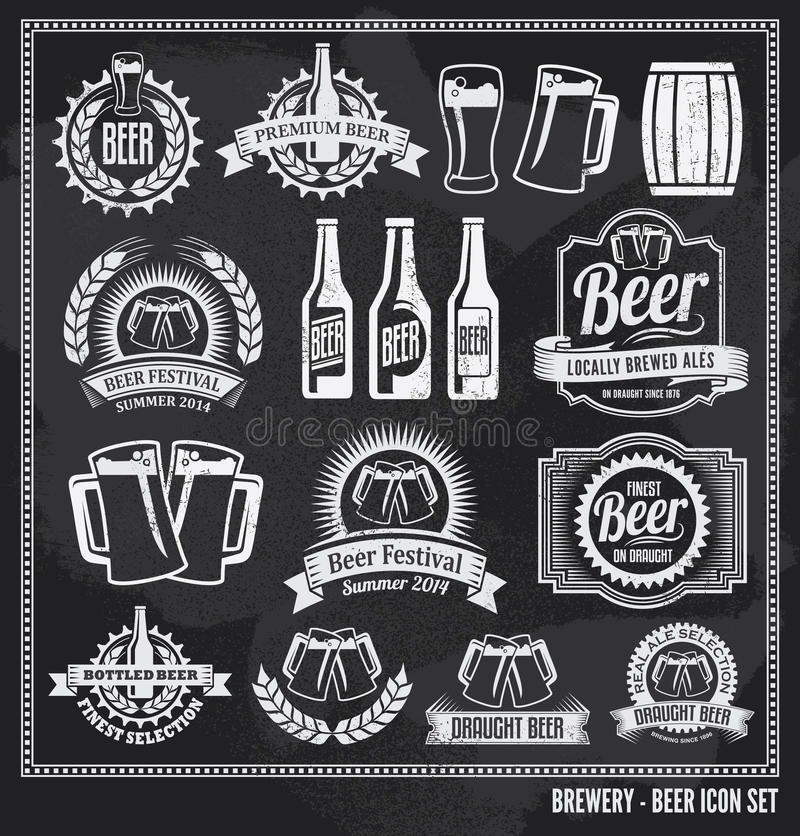 Download Beer icon chalkboard set stock vector. Illustration of cheers - 39691513