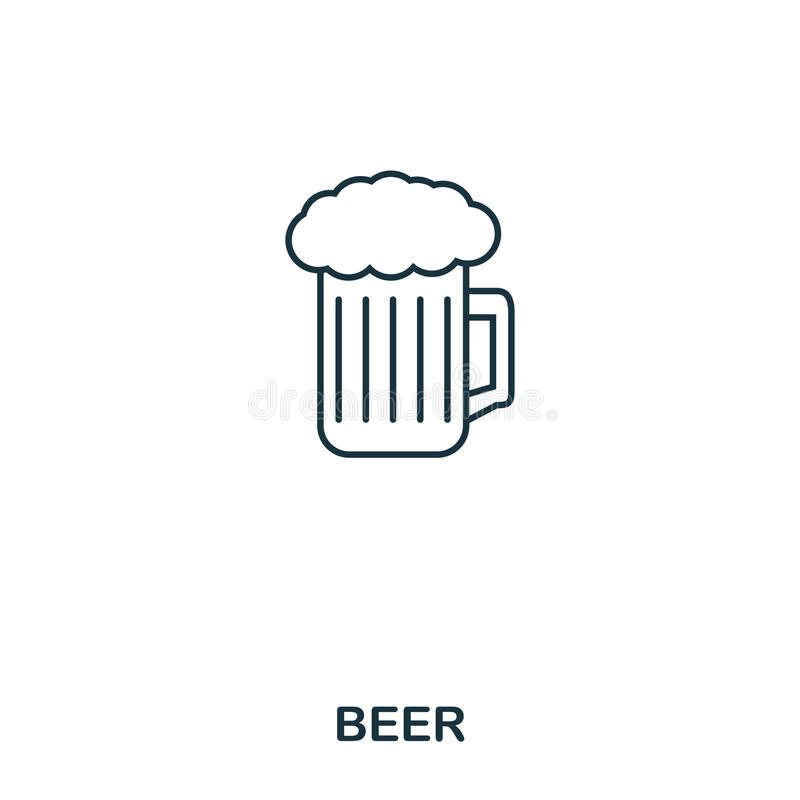 Beer icon. Outline style icon design. UI. Illustration of beer icon. Pictogram isolated on white. Ready to use in web design, apps. Software, print royalty free illustration