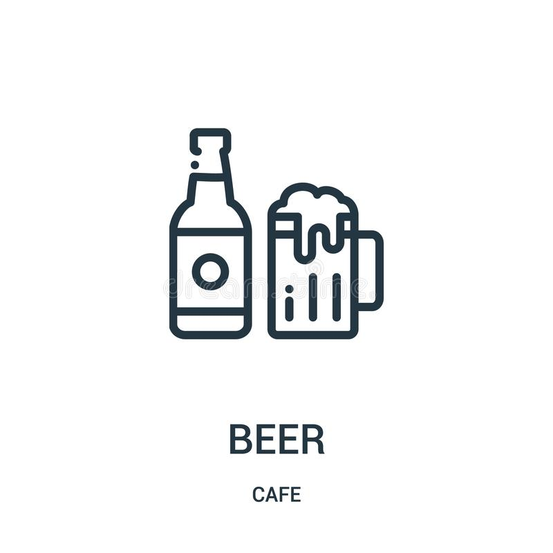Beer icon vector from cafe collection. Thin line beer outline icon vector illustration. Linear symbol. For use on web and mobile apps, logo, print media stock illustration
