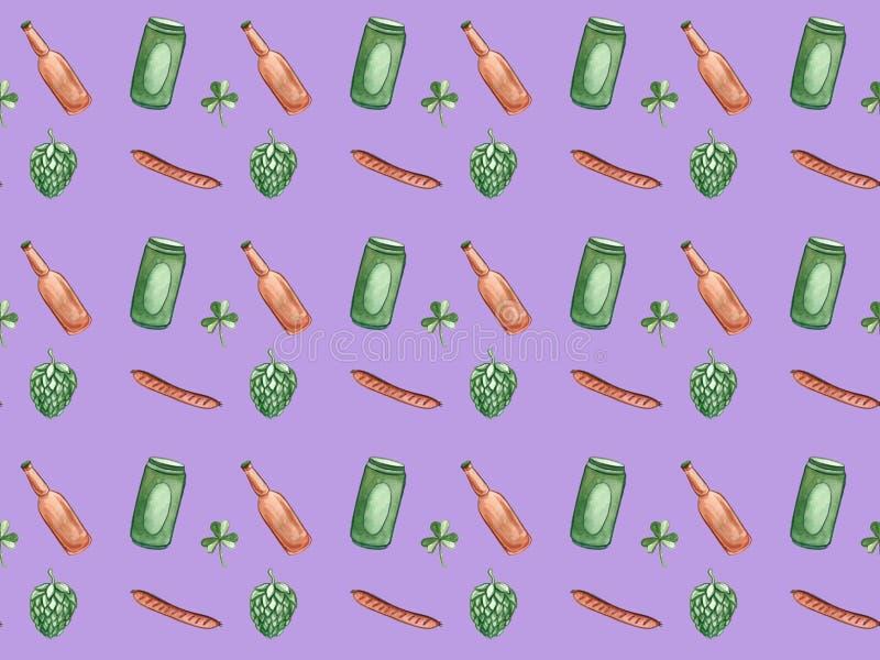 Beer icons seamless pattern hop branch, wooden barrel, glass of beer, beer can, bottle cap, beer mug, barley . Oktoberfest. Beer icons seamless pattern hop vector illustration