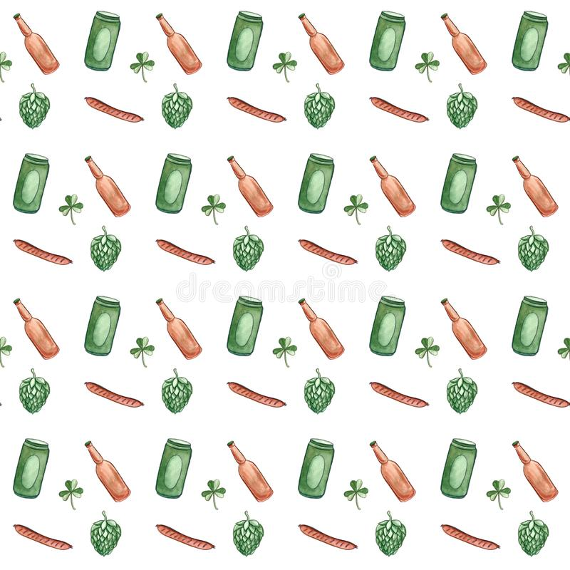 Beer icons seamless pattern hop branch, wooden barrel, glass of beer, beer can, bottle cap, beer mug, barley . Oktoberfest. Beer icons seamless pattern hop royalty free illustration