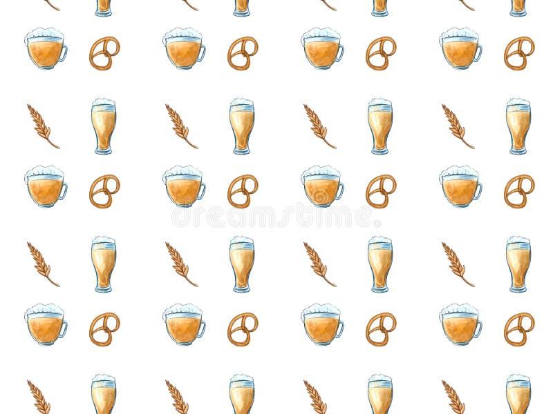 Beer icons seamless pattern hop branch, wooden barrel, glass of beer, beer can, bottle cap, beer mug, barley . Oktoberfest. Beer icons seamless pattern hop stock illustration