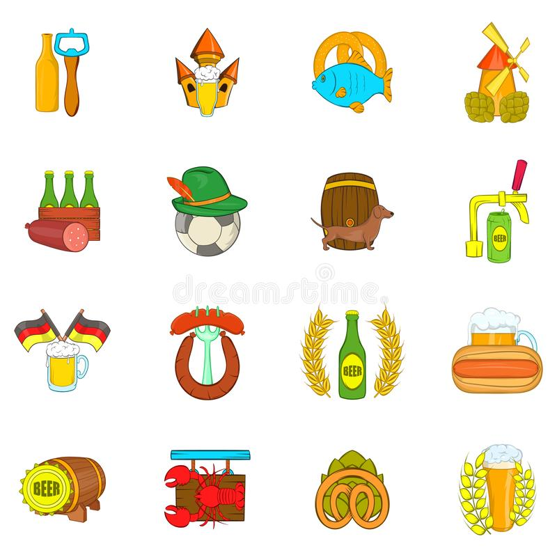 Beer icons set, cartoon style. Beer icons set. Cartoon set of 16 beer vector icons for web isolated on white background vector illustration