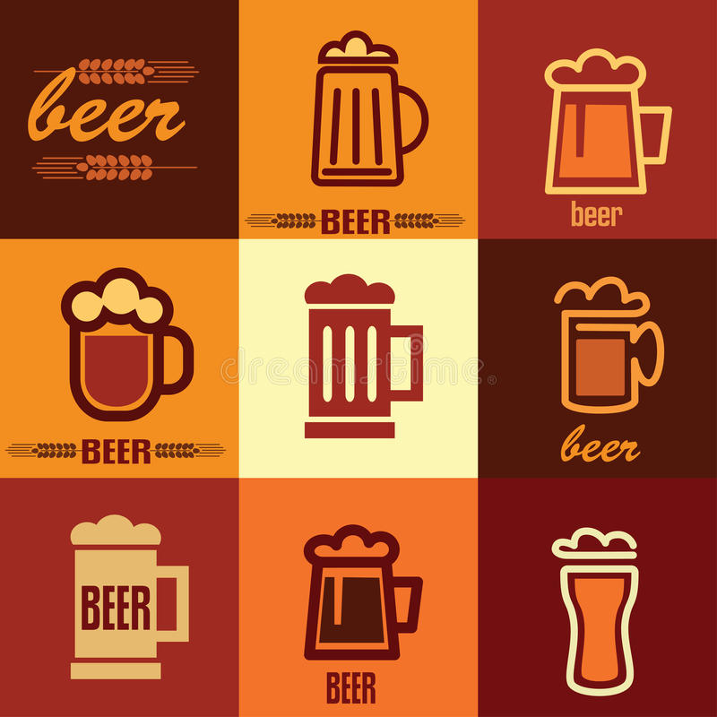 Beer icons set stock illustration