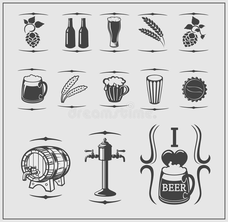 Beer icons, symbols, labels and design elements. stock illustration