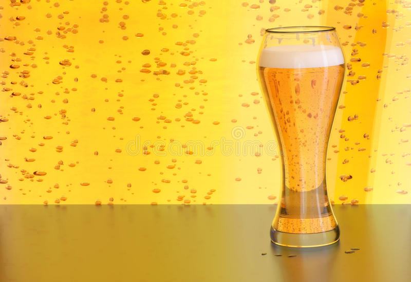 Beer illustration, blonde ale draft in a glass on yellow bubbles background. Beer, blonde lager in a draft glass on yellow background with bubbles on a bar or stock photos