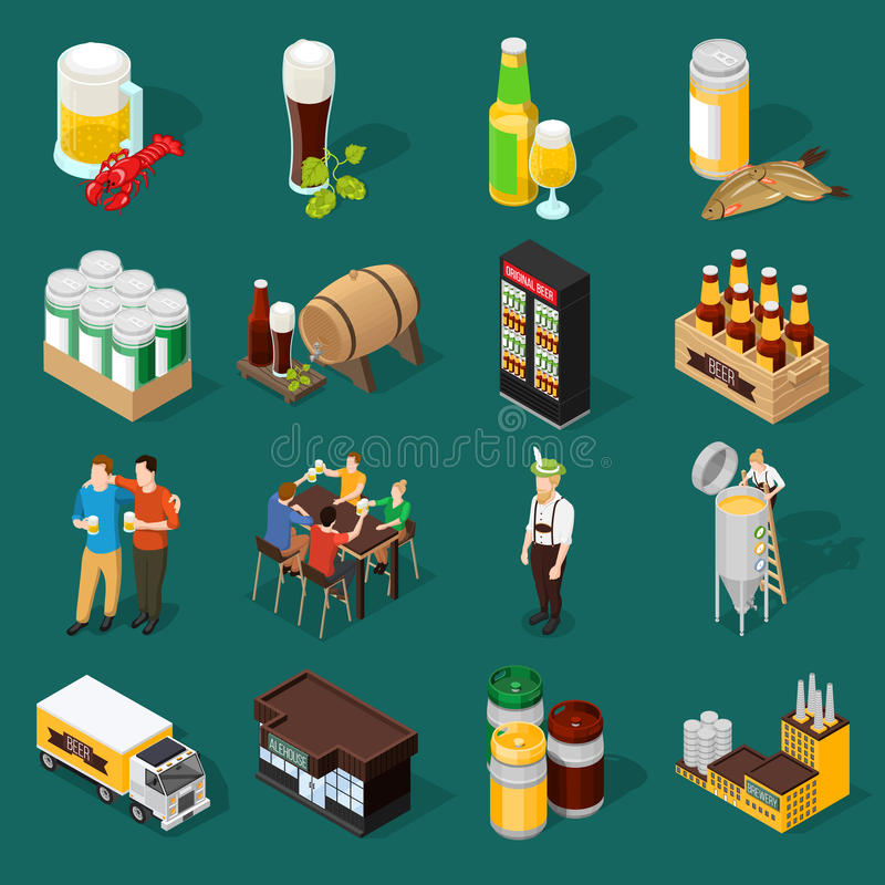 Beer Isometric Icons Set vector illustration