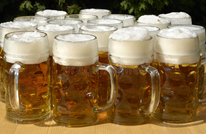 beer jugs in sommer beer garden stock image image of germany