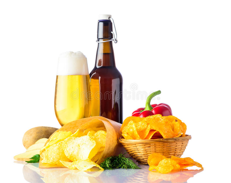 Beer and Junk-Food. Glass and Bottle golden-beer with junk-Food stock images