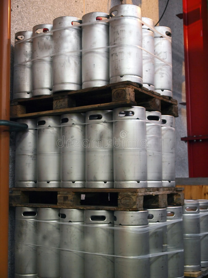 Beer Kegs. Barrels in a brewery pub royalty free stock image
