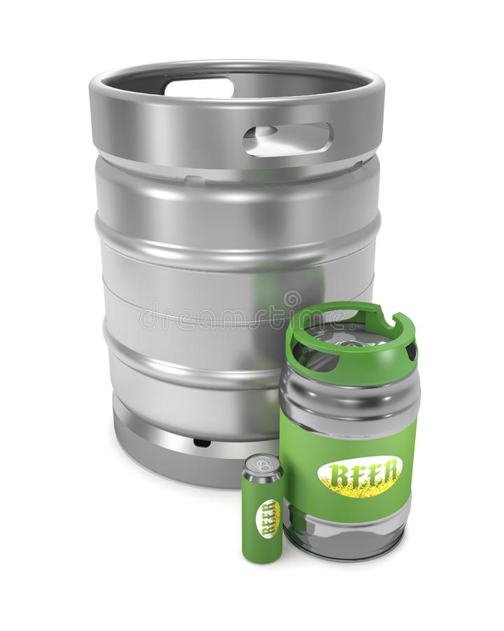 Beer kegs and can 3d illustration. Beer kegs and can on white background 3d illustration royalty free illustration