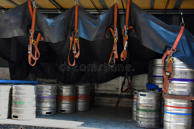 Beer kegs. Delivery of beer kegs in Manchester, England stock photo