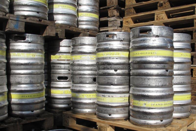 Beer kegs. Drink foam prosit royalty free stock image