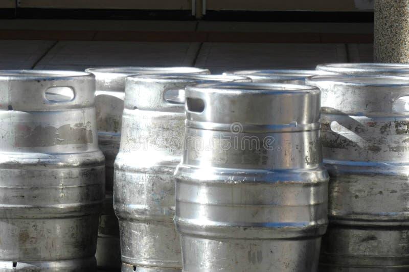 Beer Kegs. Metallic beer kegs. Can be used as background stock images