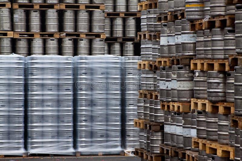 Beer kegs in rows. Outdoor stock images