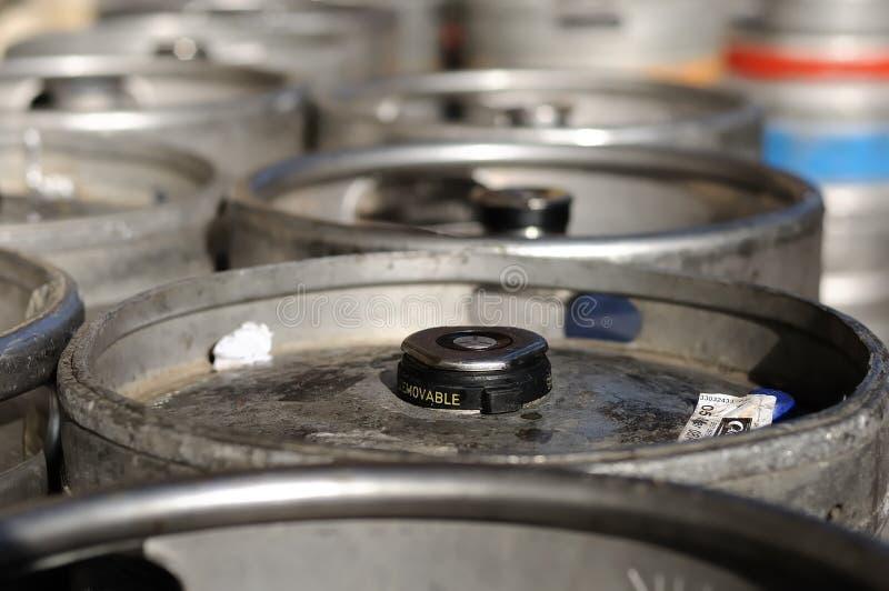 Beer Kegs (top Of Barrels) Royalty Free Stock Image