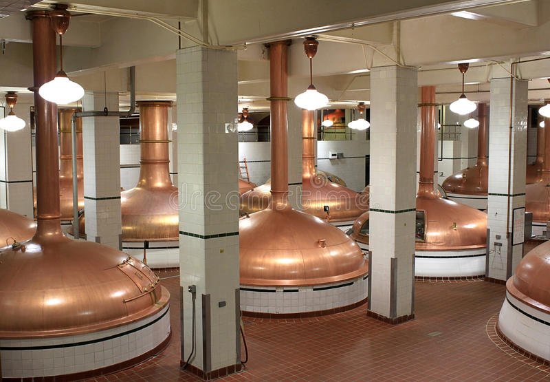 Beer kettles in brewery royalty free stock image