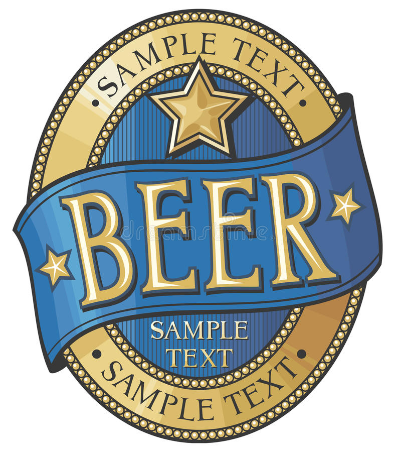Beer label design stock illustration