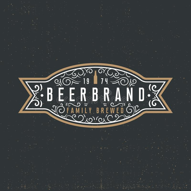 Beer label logotype concept in vintage style on dark background royalty free illustration