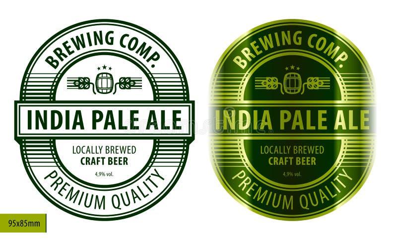Beer label template. Beer oval label, typographic template, beverage package design vector illustration