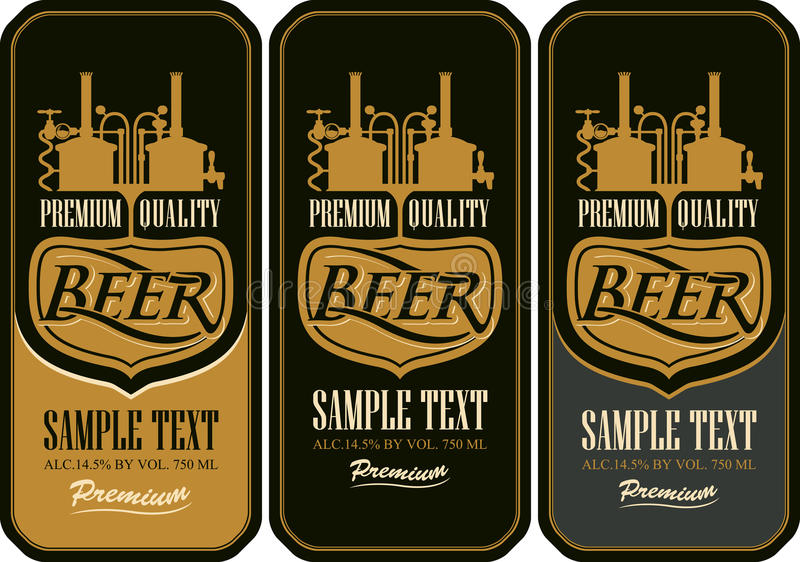 Beer labels with the brewery. Machine to make beer stock illustration
