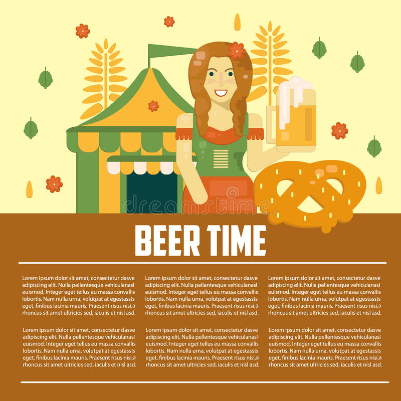 Beer letterhead template stock vector illustration of alcohol beer letterhead template alcoholic festival concept banner beer time concept in flat style business vector template poster with beer waitress spiritdancerdesigns Image collections