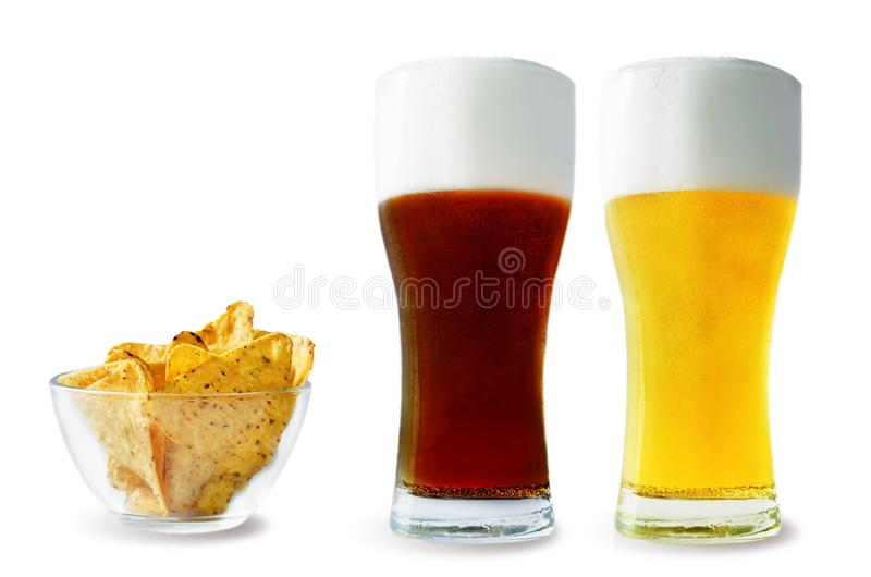 Beer list: light and dark beers with corn chips. On a white background. toning. selective focus stock photo