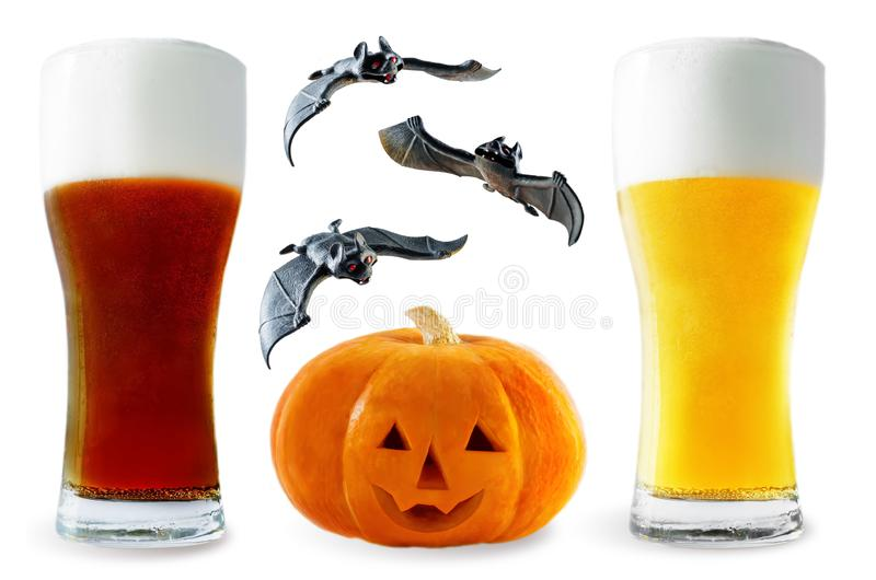 Beer list: light and dark beers with pumpkin and bats isolated. Halloween concept stock photos