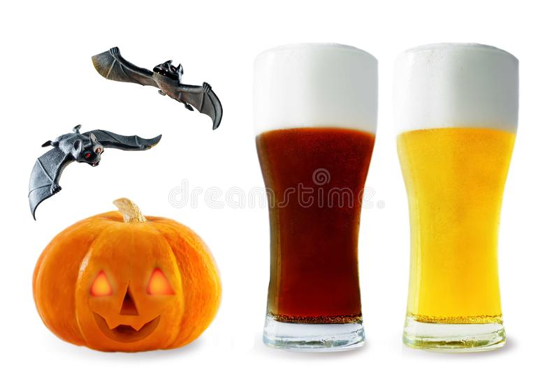 Beer list: light and dark beers with pumpkin and bats isolated. Halloween concept stock image