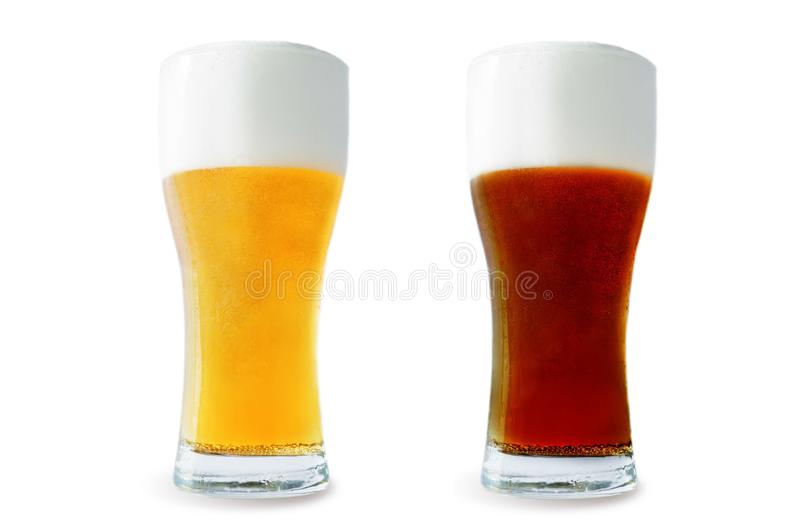 Beer list: light and dark beers. On a white background. toning. selective focus stock photography