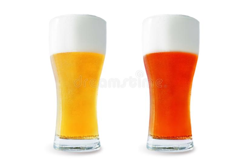 Beer list: light and red beers on a white background. Toning. selective focus royalty free stock photography
