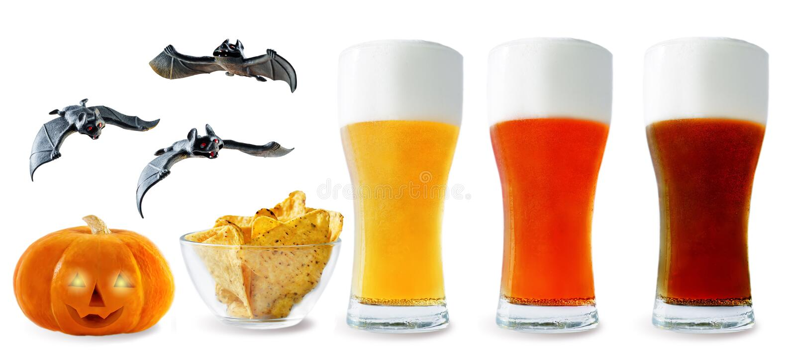 Beer list: light, red and dark beers with corn chips, pumpkin an. D bats isolated. Halloween concept royalty free stock images
