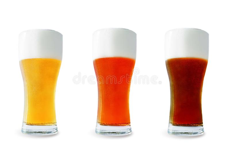 Beer list: light, red and dark beers. On a white background. toning. selective focus stock images